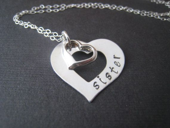 Heart on heart Hand stamped personalized by stampedjewellery, $51.00