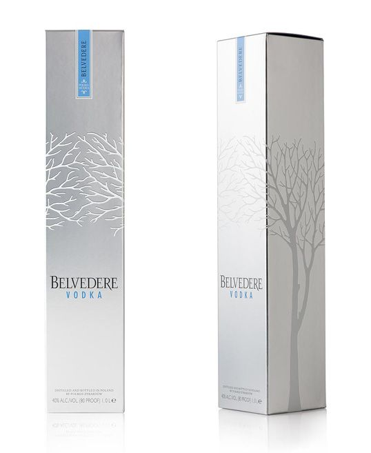 """Packaging design for global luxury spirits brand, Belvedere Vodka.  In addition to developing highly innovative concepts for gift packaging (for future release)  We conceived a way of making the tree design appear more 3-dimensional and tactile, and sourced a more premium metallic carton board. To make production more accurate and efficient, we replaced the existing caselined box with a sleek carton and made the signature blue seal an integral part of the design."""