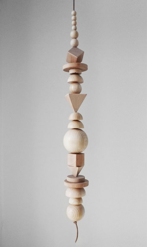Gonna have my students do this on a day when we are bored.  For some reason I have a drawer full of these left in my classroom.  Wooden sculpture/mobile by Henrike Schoen | Fine Little Day