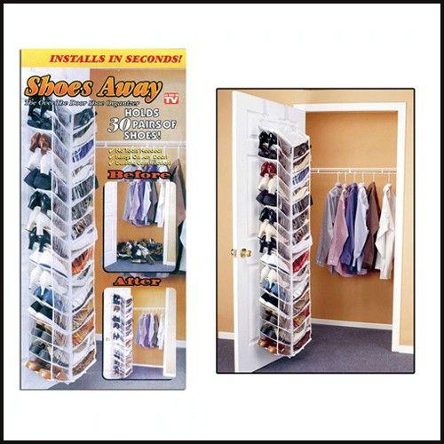 new 30 pair shoe hanging closet door storage space saver rack organizer hanger