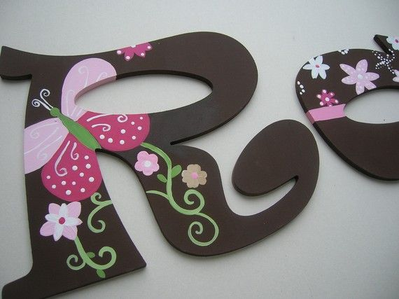 Wooden Wall letters Pink and Brown por MySweetDreamsArt en Etsy