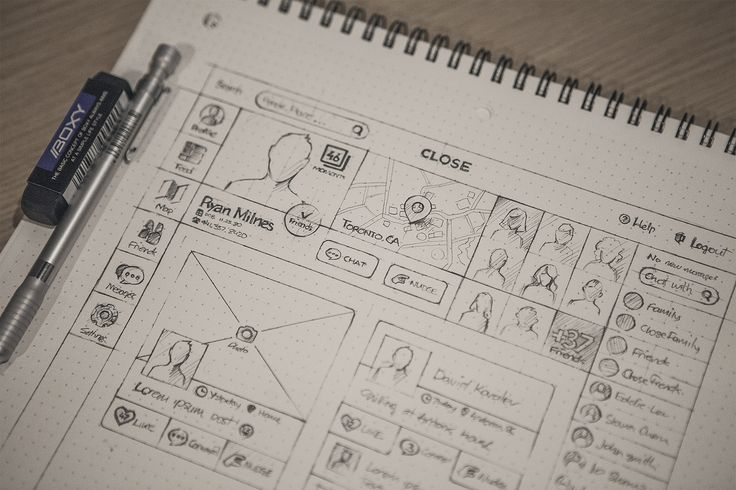 Love this example of layout sketches (by a web designer - Eddie Lobanovsky).  Cartoons to describe your work.....