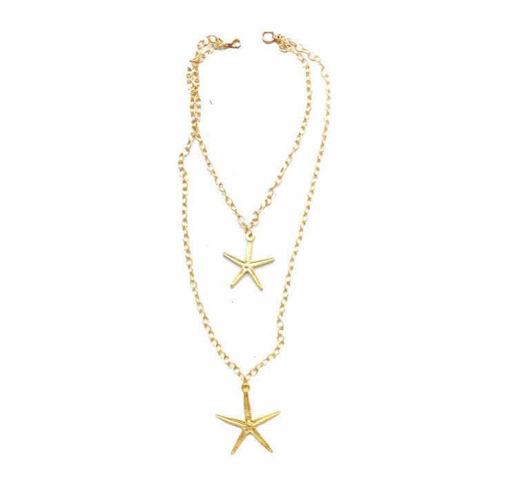 colgante oro estrellas de mar, collar artesanía, collar boho, collar cadena, collar dorado, collar estrella de mar, collar hippie, collar largo, collar original, collar regalo, tendencias collares
