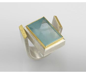 Ring in silver and 24ct gold ring with aquamarine