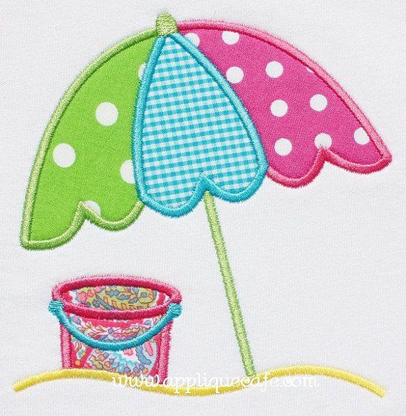 Beach umbrella machine embroidery applique design