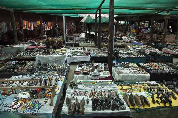 The African market has a big variety of handmade goods.