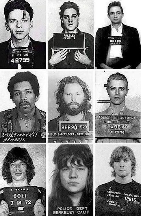 Jimi Hendrix, David Bowie, Janis Joplin, Kurt Cobain, Johnny Cash, Frank Sinatra, Elvis Presley, Jim Morrison, and Mick Jagger.