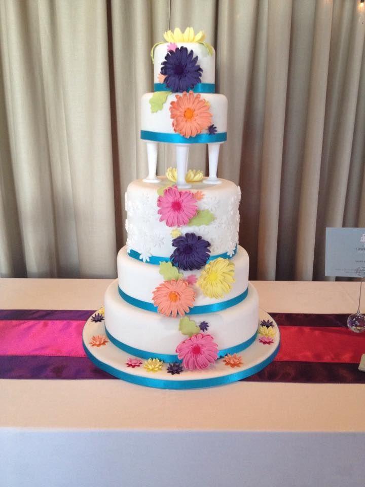 Bright Gerbera Wedding Cake