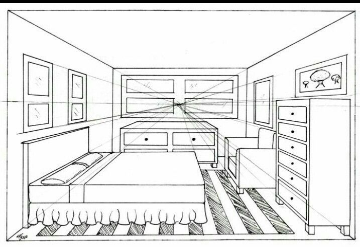 One Point Perspective Drawing Room Perspective Drawing Perspective Room