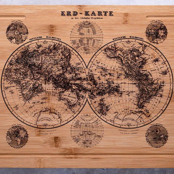 Big Bamboo Cutting Board with Vintage World Map Chopping