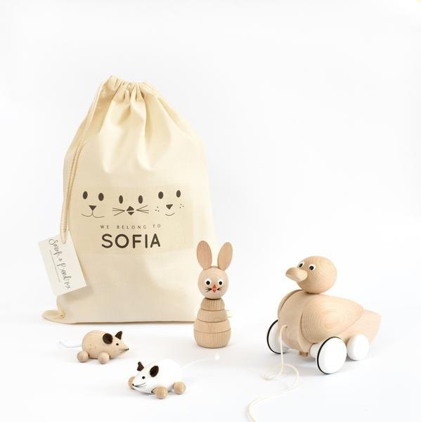 Personalised Toy Bag Bundle - 3 toys — sarah & bendrix