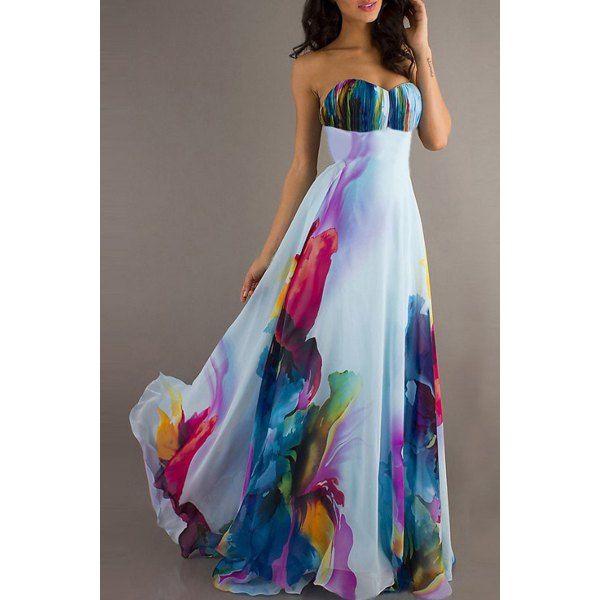 $16.26 Chic Strapless Sleeveless Floral Print Women's Maxi Dress