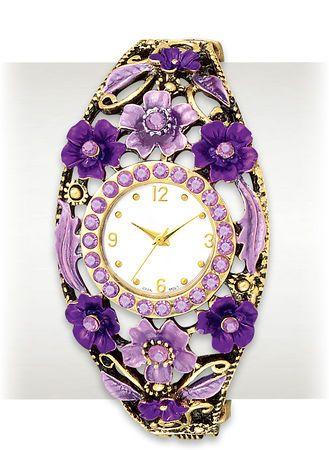Ornate Ladies Watch with Light & Dark Purple Flowers around the face.