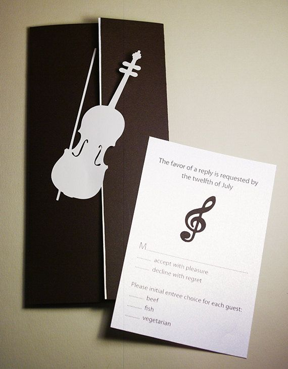 Wedding Invitation Set Violin and Treble Clef Cutout by Naboko