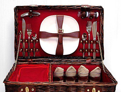 Le Redgrave Panier de pique-nique de luxe en osier pour 4 personnes Noir Panier à refroidisseur intégré, compartiment pour accessoires…