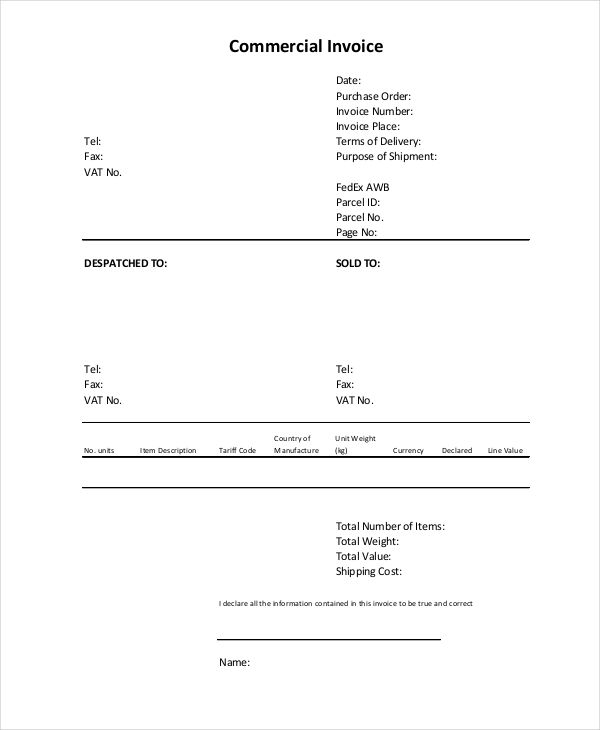 Blank Commercial Invoice Template , Commercial Invoice Template to Download and Why It Helps You , Download the commercial invoice template to help you make invoice for your business so you can track both billing receipts and invoices in order to ha... Check more at http://templatedocs.net/commercial-invoice-template-to-download-and-why-it-helps-you