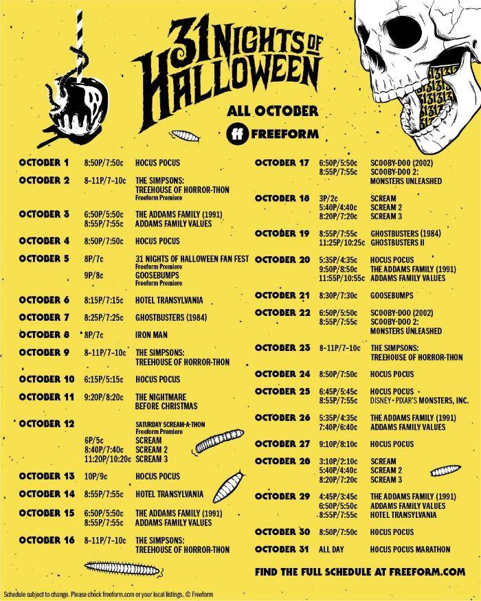 Christmas Show Schedule 2020 Free Halloween TV Movie Schedule for 2020 | 31 nights of halloween