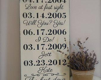 Signe de Dates importantes :  Ce signe dart murale en bois se compose de dates importantes dans votre vie. Ils peuvent être le jour que vous avez rencontré votre conjoint, votre date de mariage, les dates de naissance de vos enfants... cest sans fin. Rendre votre IMPORTANT DATES !  CE SIGNE : * Mesure environ 12 x 18 * Livré avec crochet de dent de scie daccrochage facile * Se fait en gris de Paris avec un sous-poil blanc brillant et noir pour le texte. (Au dos de ce signe n'est pas peint…