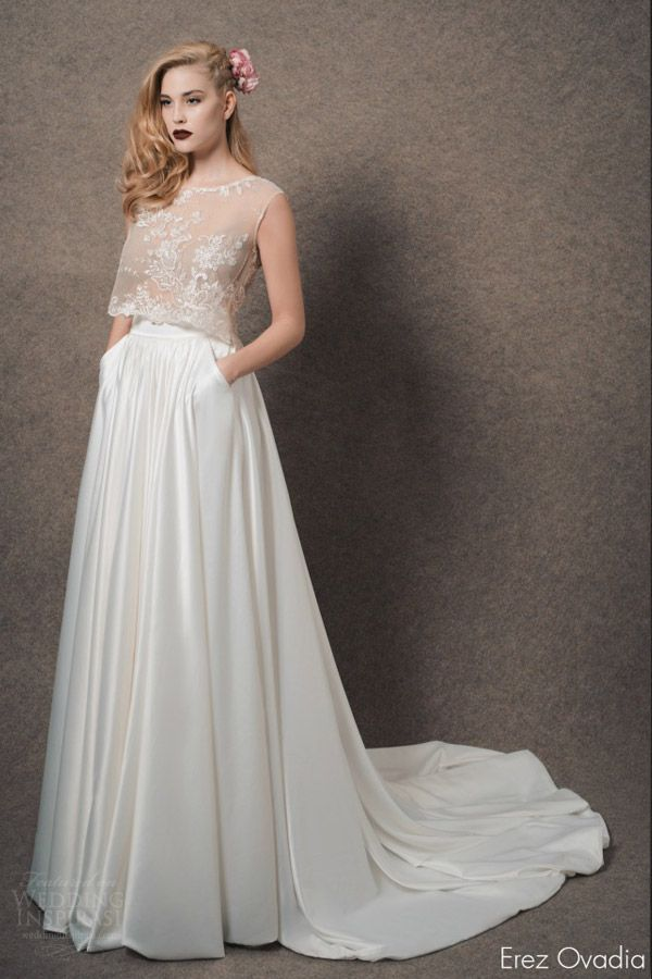 1000 images about crop top two piece wedding dresses on for Wedding dress with illusion top