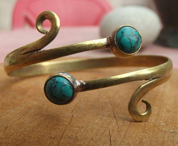 Bracciale in ottone con pietra turchese di silveringjewelry