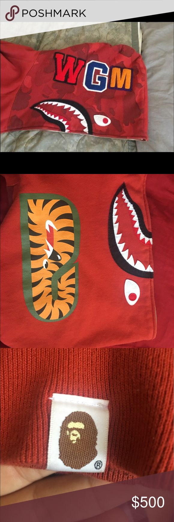 Red Bape Hoodie Size XXL but fits XL and Large PRICE negotiable WORN ONLY 4 times GREAT CONDITION bape Sweaters Zip Up