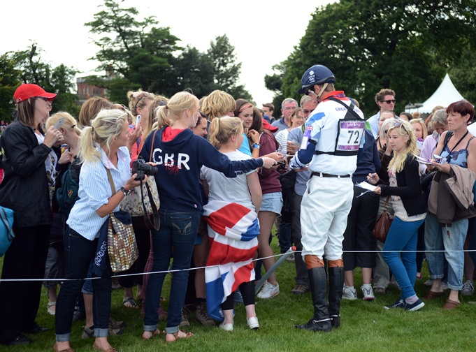 GBR eventing fans swarming William Fox-Pitt (aka Foxy!) after XC. COTH photo