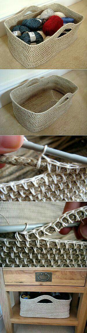 Crochet twine basket
