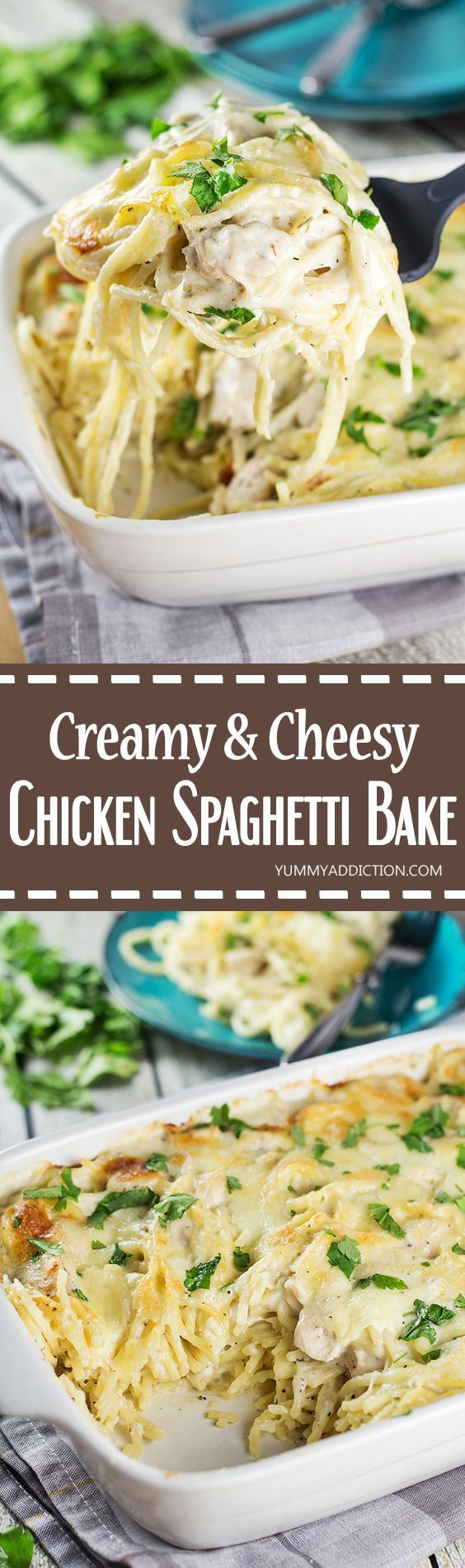 Cheesy Chicken Spaghetti Bake for dinner? Your family will thank you! Comforting, filling, and super easy & quick to make. What else do you need?