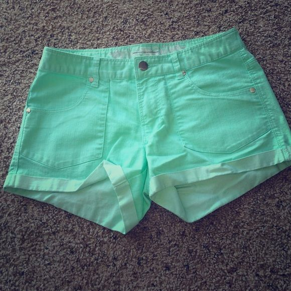 Teal Shorts Teal shorts. Size 6. High waisted. In great condition! Express Shorts Jean Shorts