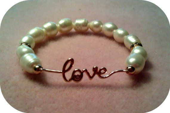 Rose Gold Love Pearl Bracelet by Loove4Beads on Etsy, $30.00Peaches Champagne Sapphire, Wedding Day, Pearl Bracelets, Wedding Jewelry, Bracelets Collection, Pearls Diamonds, Peach Champagne Sapphire, Rose Gold, Pearls Bracelets
