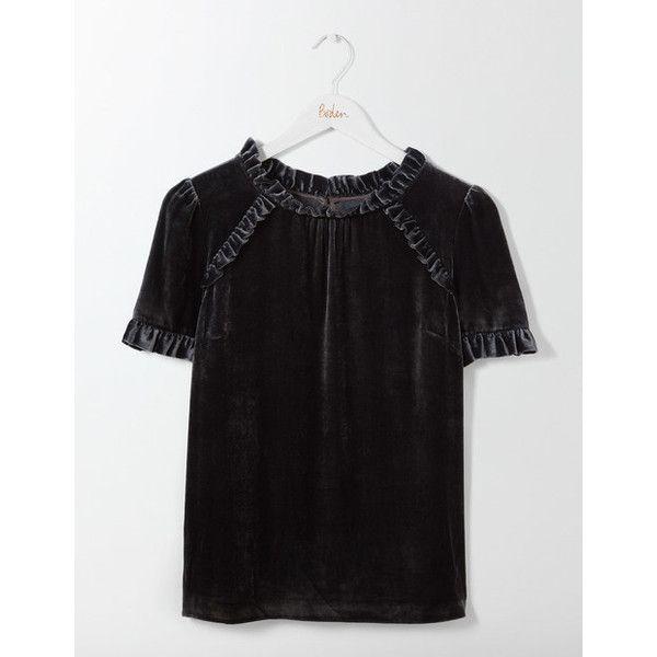 Nicola Velvet Tee ❤ liked on Polyvore featuring tops, t-shirts, velvet t shirt, velvet top and velvet tees