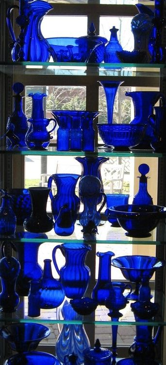 Collection of cobalt blue glass.