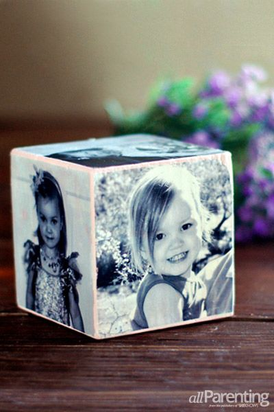 allParenting - DIY photo cube transfer image with Mod Podge