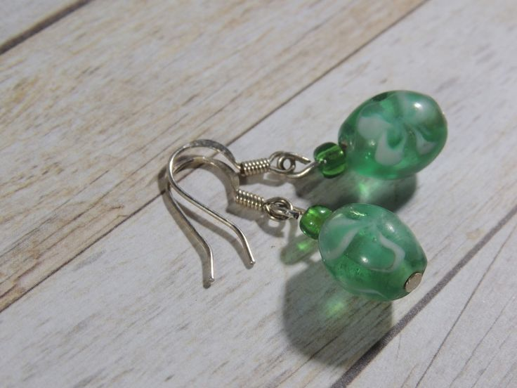 Green floral bead silver plated earrings