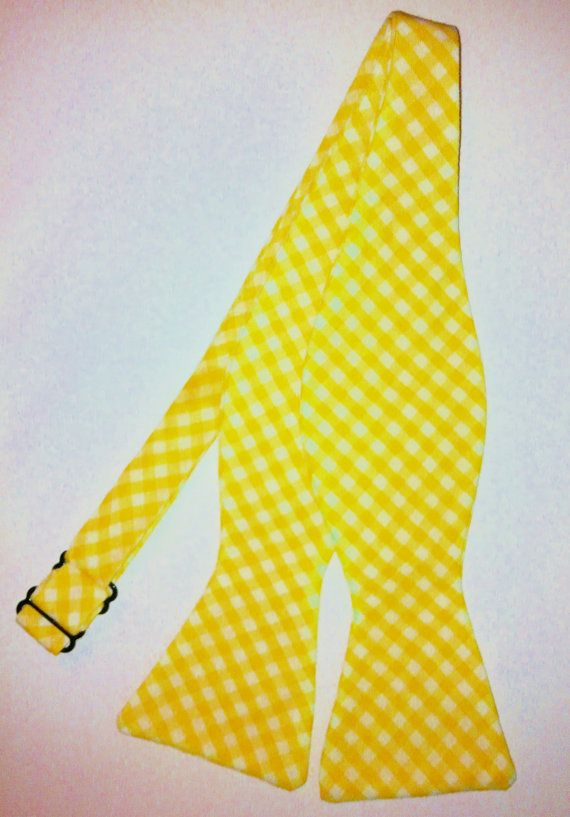 Sunlight Yellow Gingham Bow Tie by TarRiverTies on Etsy