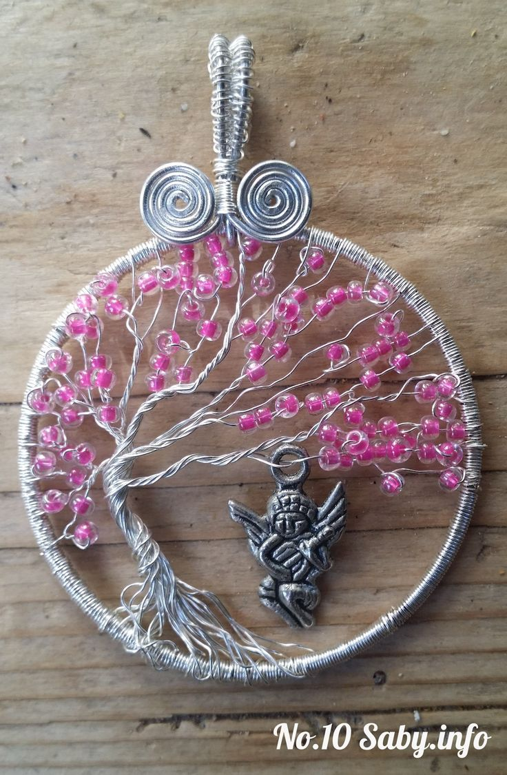 Wire Tree Pendant. No.10 Silver wire with pink beads and an angel. (4 cm). Hand-made by Sabine Stroo - van de Flier. Sold.
