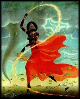 """Oya is one of the most powerful Orishas. Her full name is Oya Yansan, which means """"Mother of Nine."""" A Warrior-Queen, She is the sister-wife of the God Shango, to whom She gave the power to create storms. Much of Oya's power is rooted in the natural world; She is the Goddess of thunder, lightning, tornadoes, winds, rainstorms and hurricanes. A Fire Goddess, it is Oya who brings rapid change and aids us in both inner and outer transformation."""