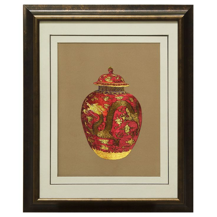 Silk Embroidery Frame with Prosperity Red Dragon Jar