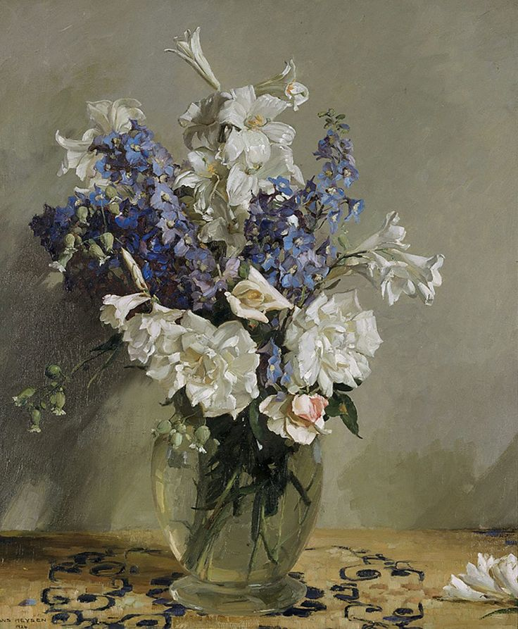 Delphiniums and lilies, Sir Hans Heysen 1924, Art gallery of NSW