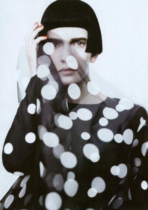 Valerija Kelava photographed by Paolo Roversi - Vogue Italia: February 2011 - Dots/Stripes/Black/White