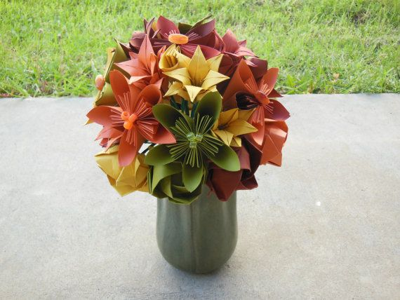 Fall Origami Flower Arrangement Paper Crafts Origami Pinterest