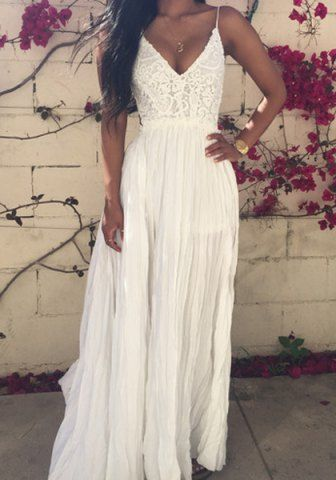 Sexy Plunging Neck Sleeveless High Furcal See-Through Women's Dress Maxi Dresses | RoseGal.com Mobile