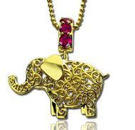 Elephant Charm Name Necklace - 18ct Gold Plated