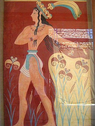 IL PRINCIPE DEI GIGLI- pittura in lieve rilievo di stucco restaurata in modo arbitrario da Evans, Cnosso, arte minoica, II millennio a.C