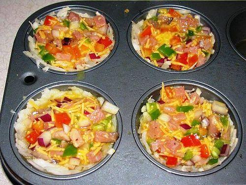 Light Breakfast Ham & Egg Muffins Hashbrowns: Weight Watcher recipe