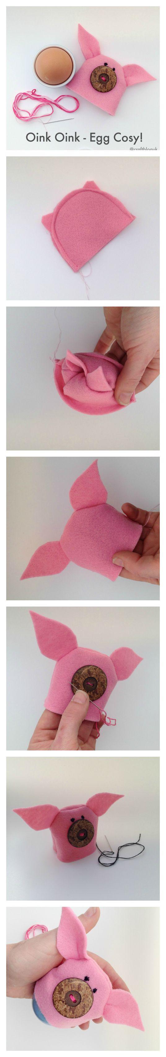 Make a cute little pig egg cosy out of felt!