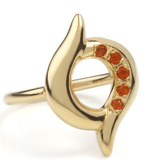 A gold-plated silver ring featuring 5 fire opals that curve around the middle of the ring on one side creating a stunning asymmetrical effect. £270