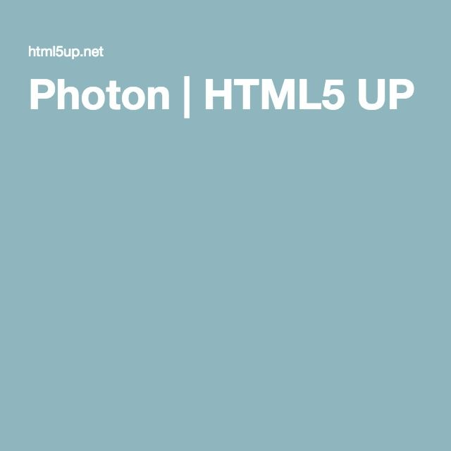 Photon | HTML5 UP