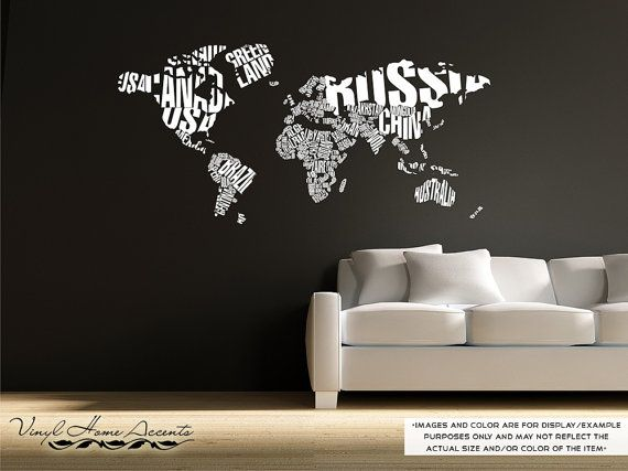 World Map in Typography - Vinyl Wall Decal Sticker Decor Graphic Art