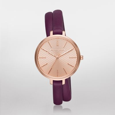 Jaryn Rose Gold-Tone and Plum Leather Three-Hand Watch Play with proportions in the Michael Kors Jaryn watch, featuring an oversized rose gold-tone case with a perforated dial and a slender plum double-wrap leather strap.